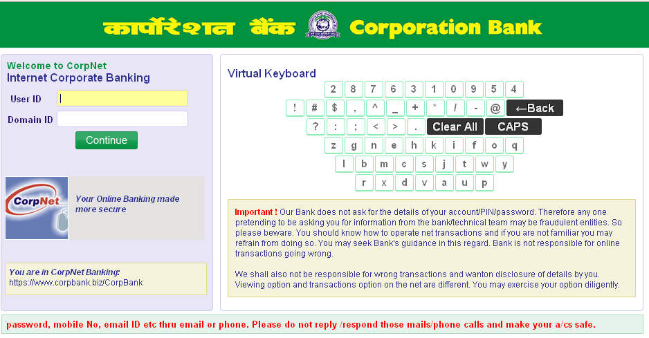 online registration for internet banking in corporation bank