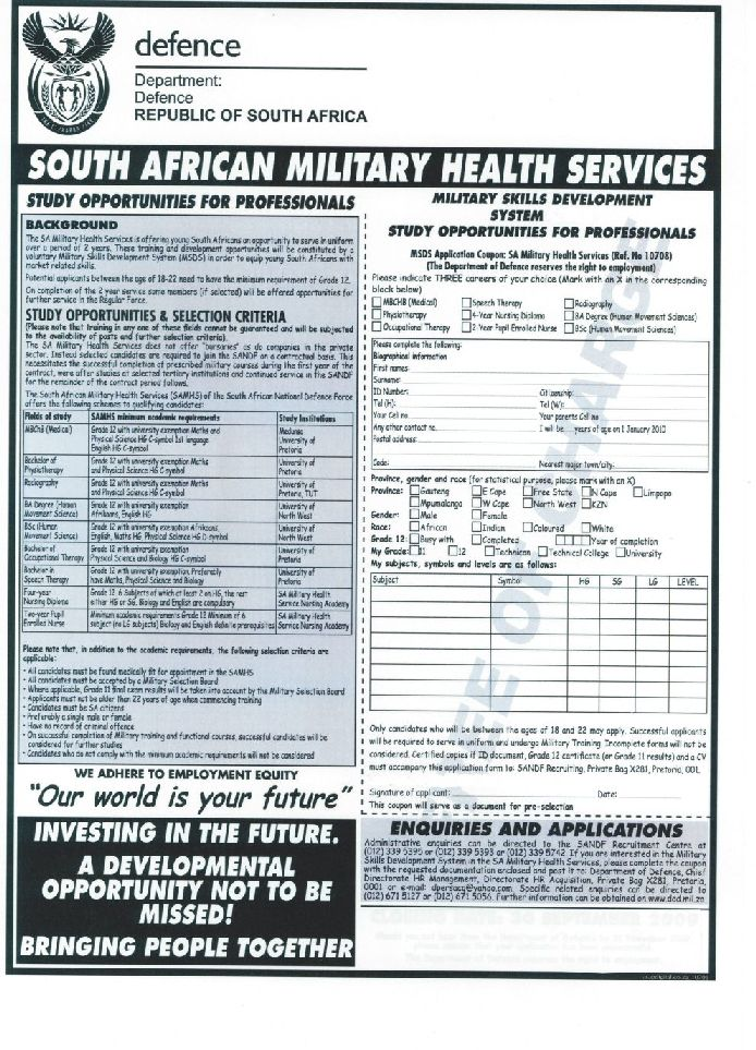 Re: Application forms of South African Army