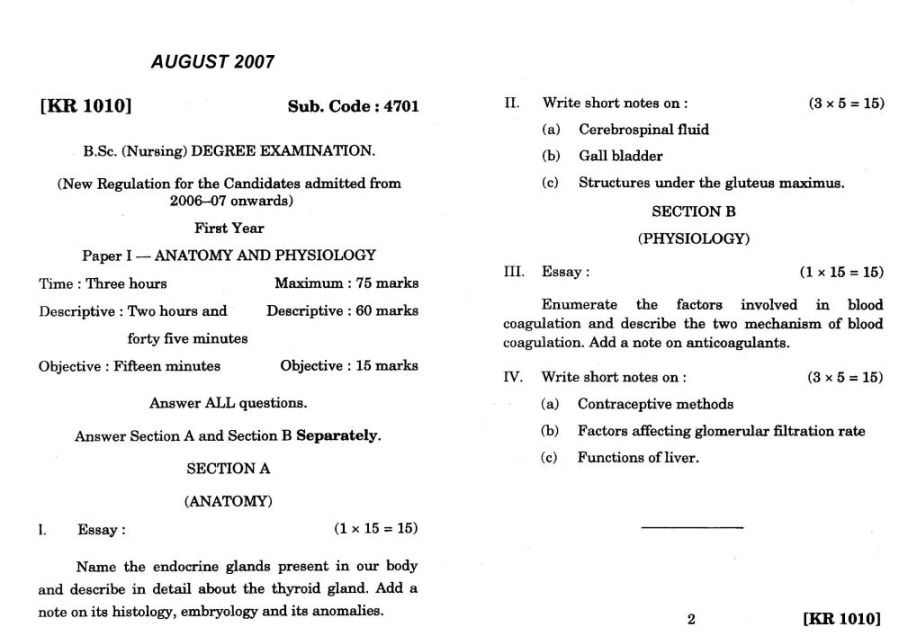 B.Sc Nursing 1st year previous year question paper Tamil Nadu Dr ...