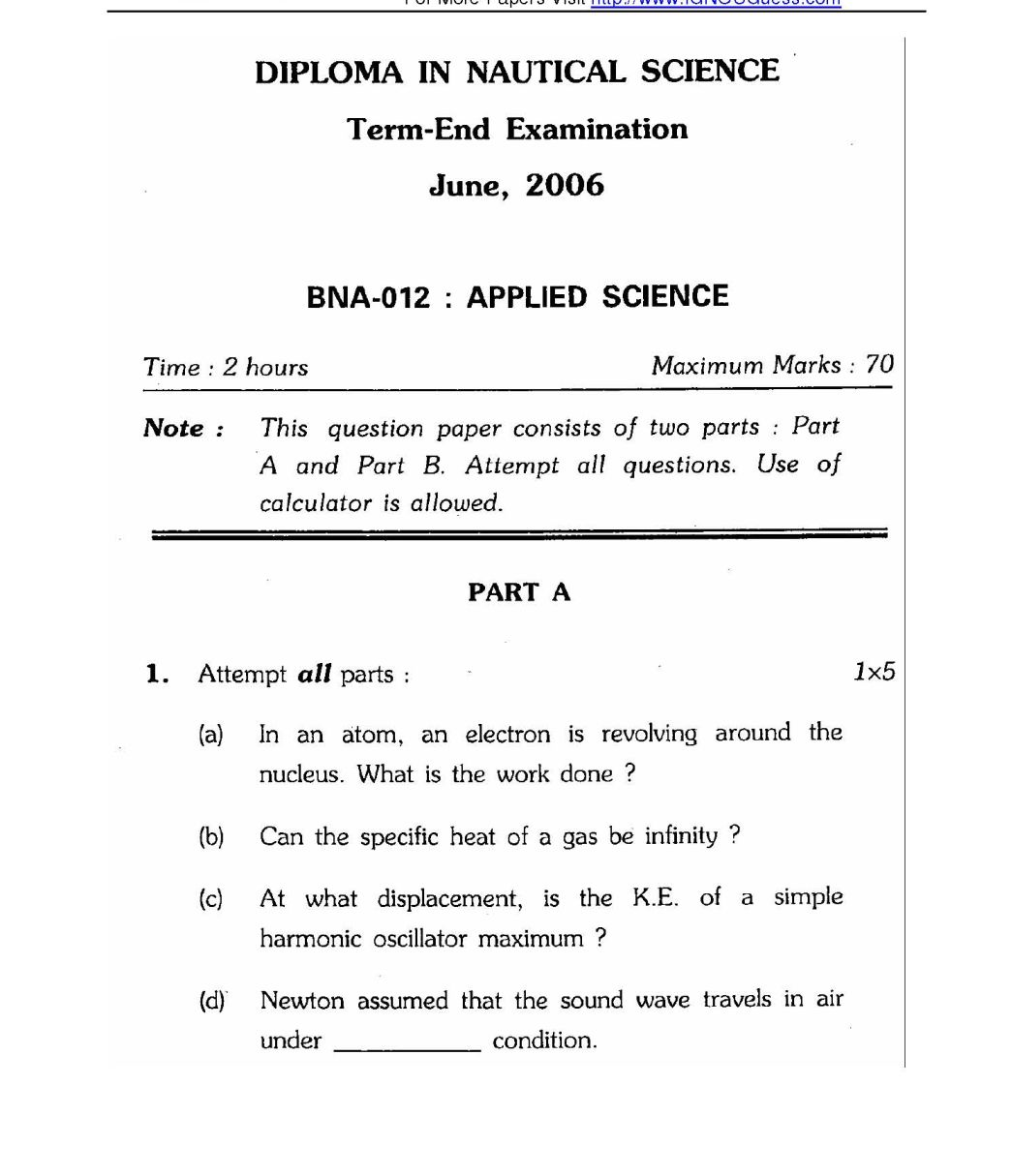 IGNOU BSC – Nautical Science Applied Science Exam Question Papers