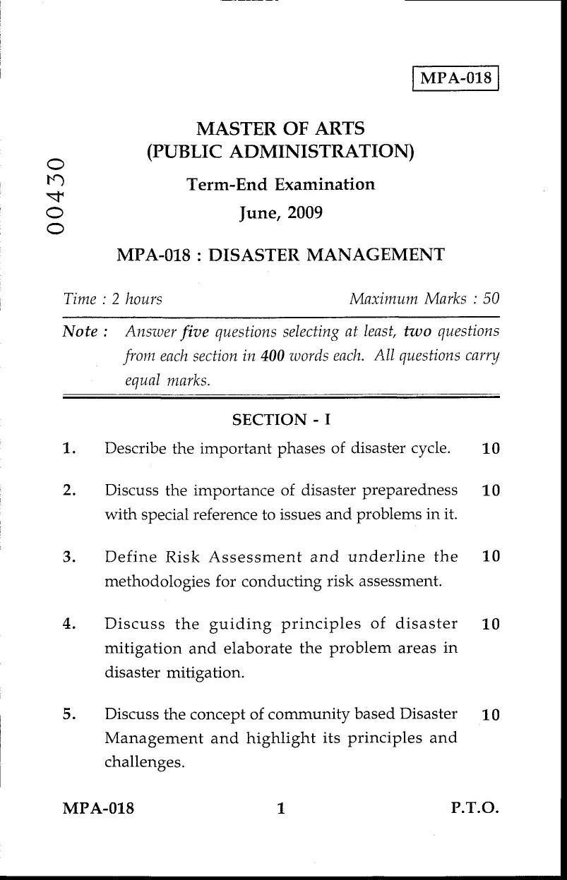 ignou m a public administration disaster management exam paper ignou m a public administration disaster management exam paper 2017 2018 eduvark