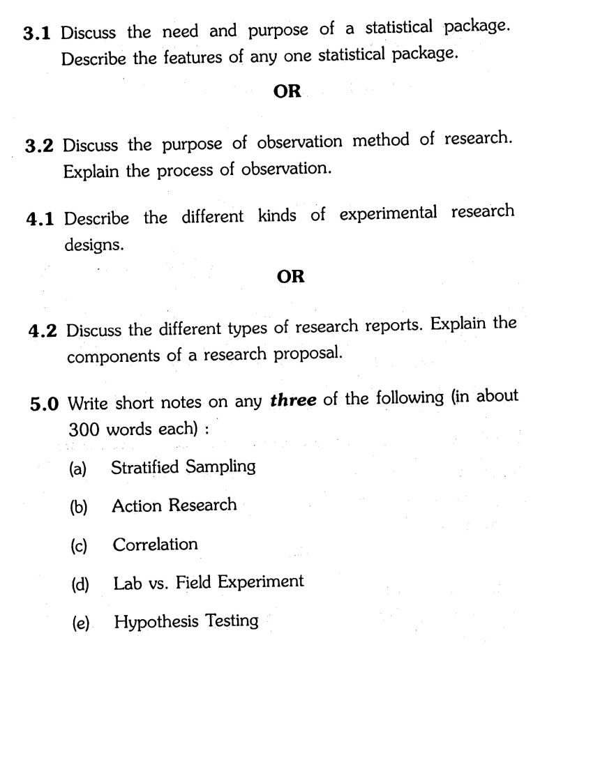 Research methodology question papers