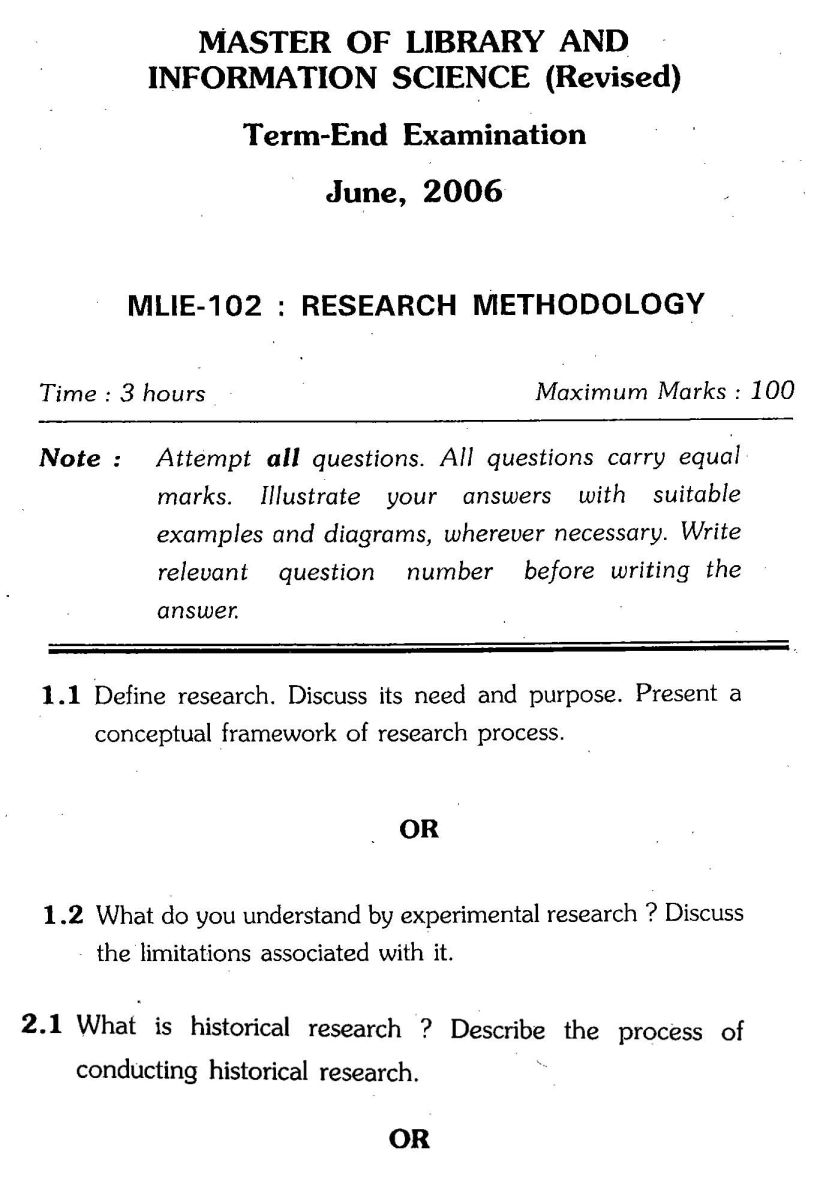 Research methodology question paper