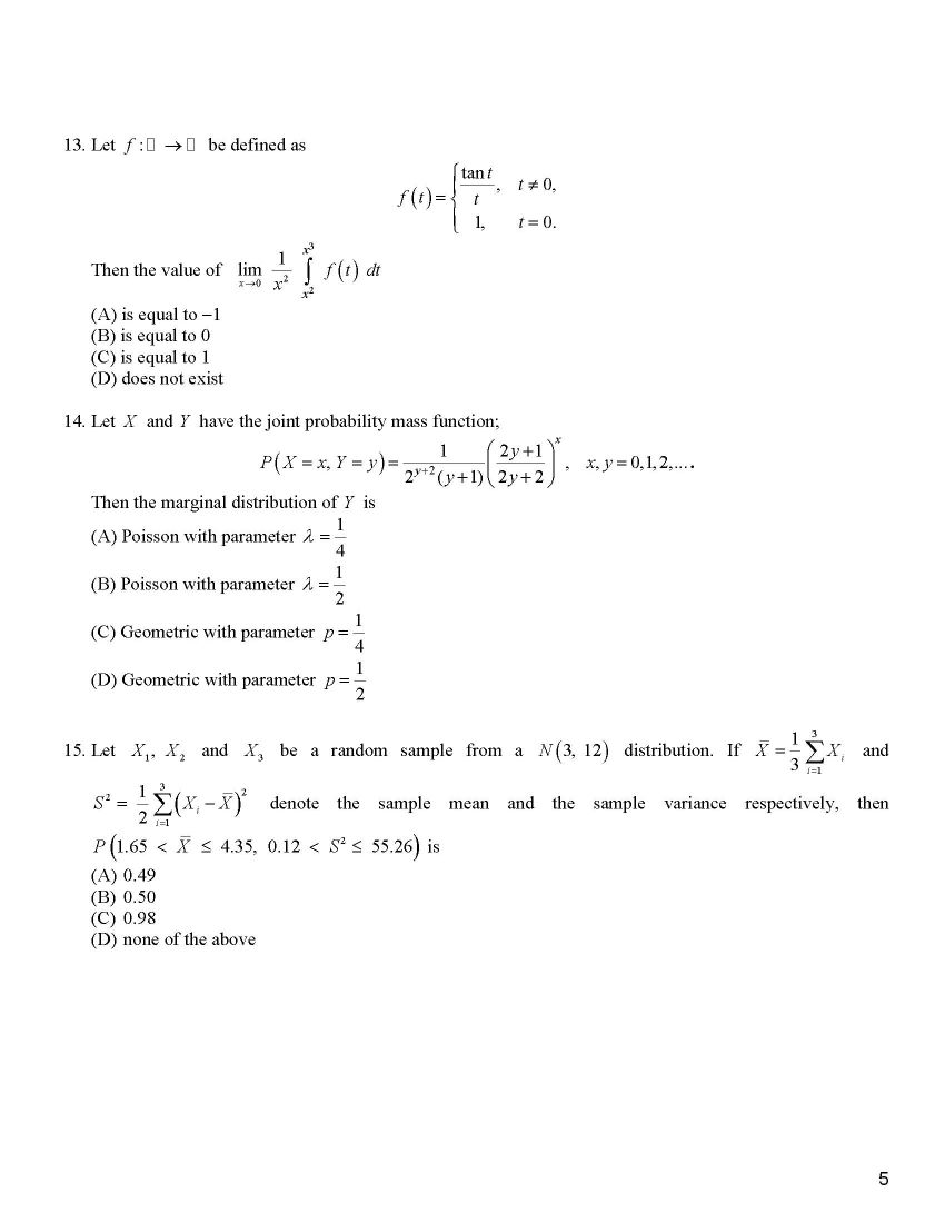 IIT JAM Mathematical Statistics Exam Question Papers - 2018 2019 EduVark