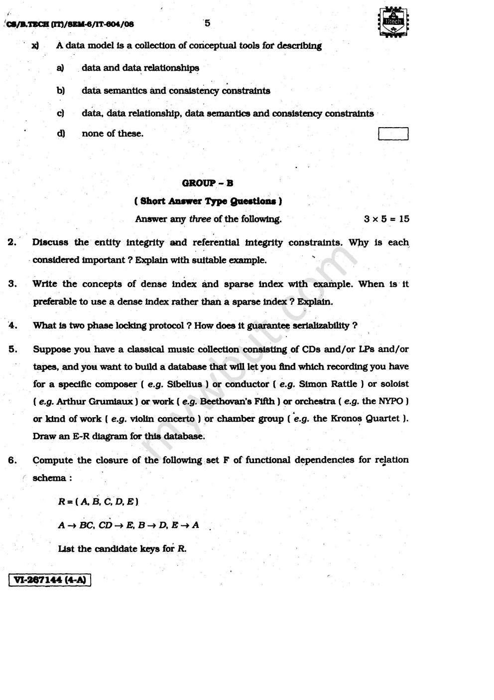 Past year question papers of WBUT IT 6th Semester DBMS (IT