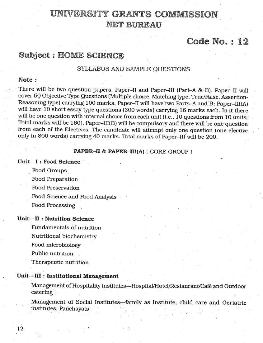 Syllabus For Ugc Net Jrf Home Science Exam 2020 2021 Eduvark