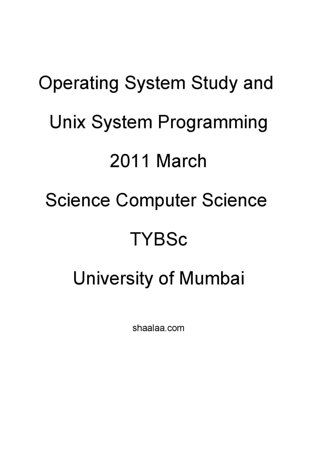 University of Mumbai Science - CS TYBSc Operating System Study and