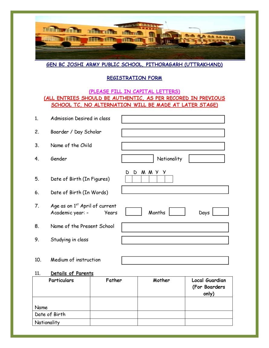 Gen B C Joshi Army Public School Pithoragarh 2017 2018 EduVark – Form for School Admission