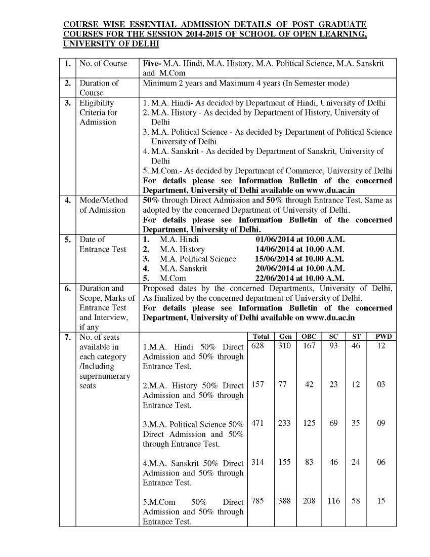 correspondence delhi university