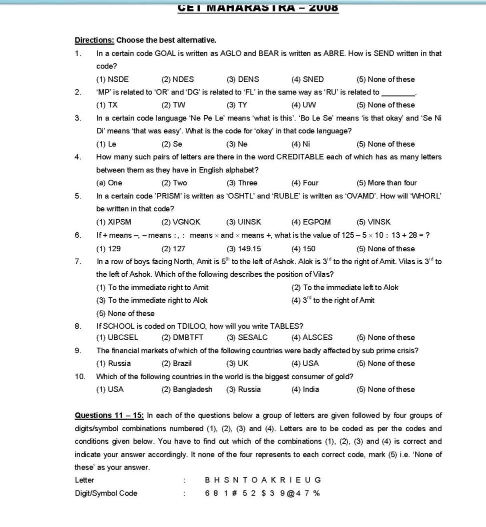 Mht Cet Question Paper Pdf