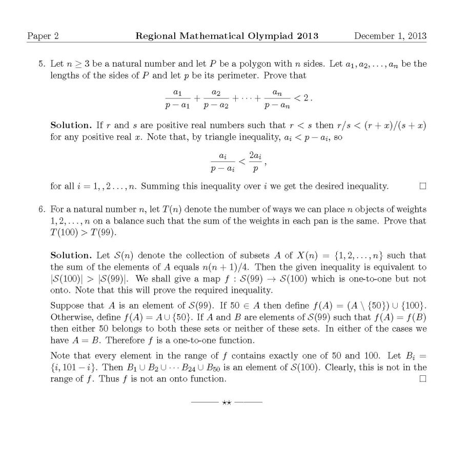 Regional Olympiad Mathematics Question Papers - 2018 2019 EduVark