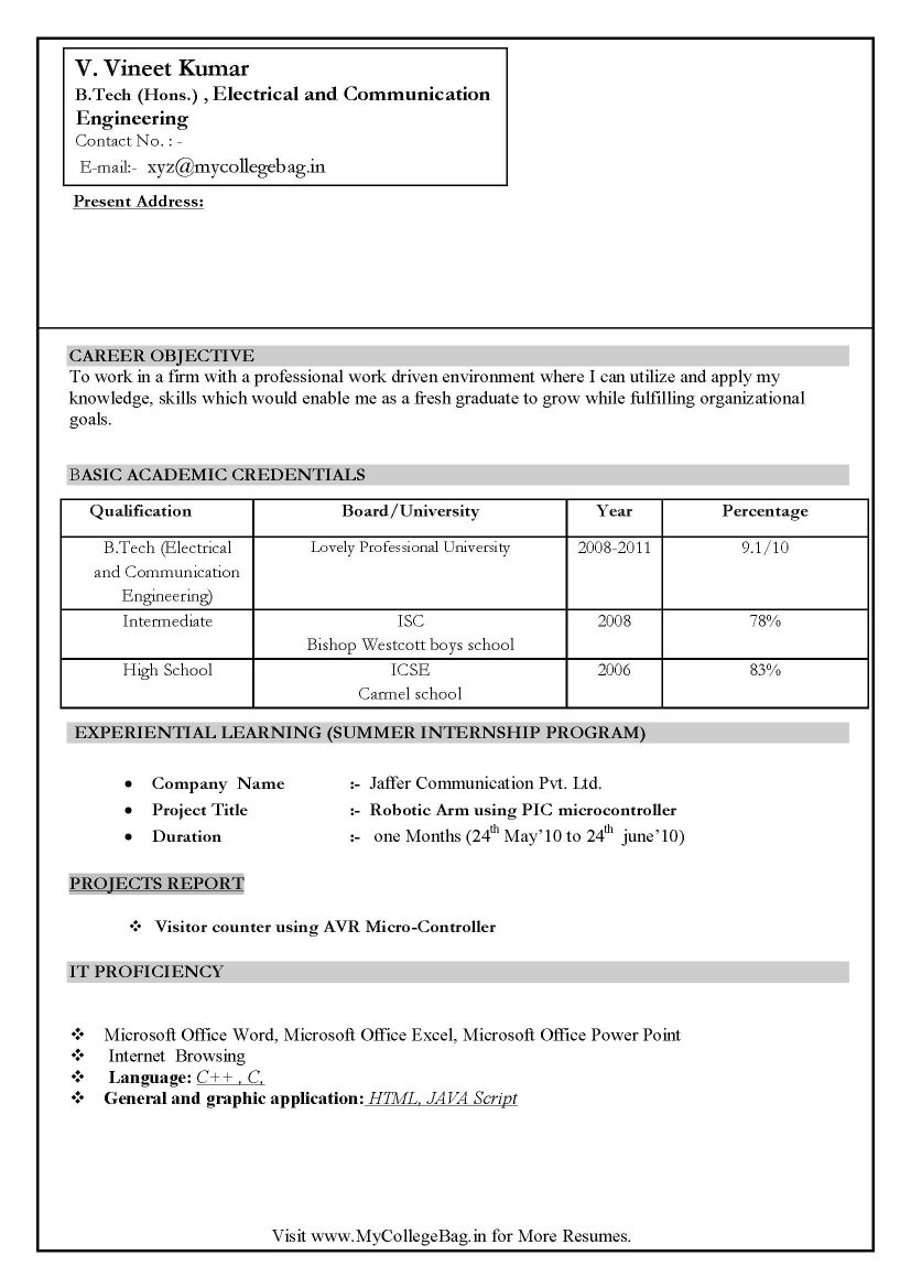 Infosys Resume Format  resume format for civil engineer resume