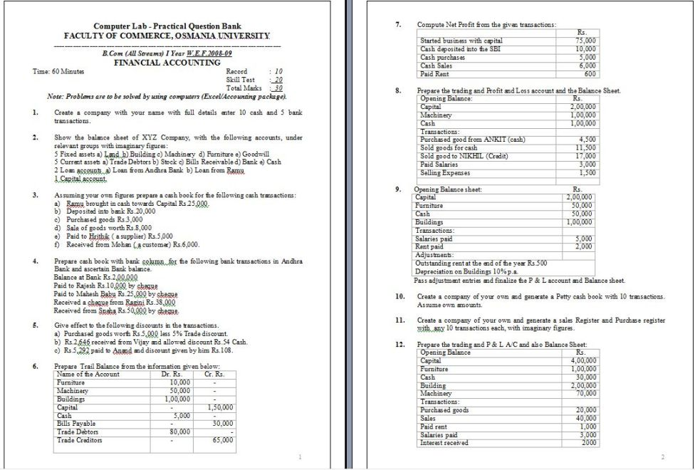 University of Madras B Com 1st year last year question