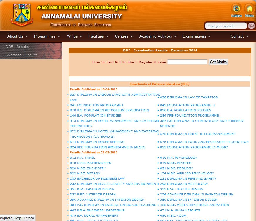 Currently Result Of The Following Courses Available On Page