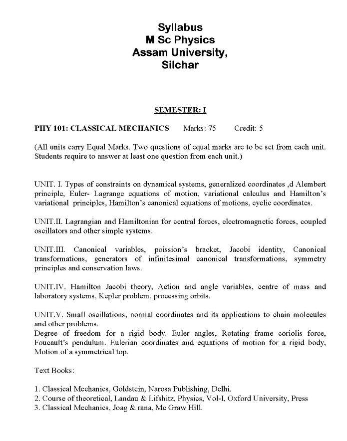 Assam University Physics Syllabus - 2018 2019 EduVark