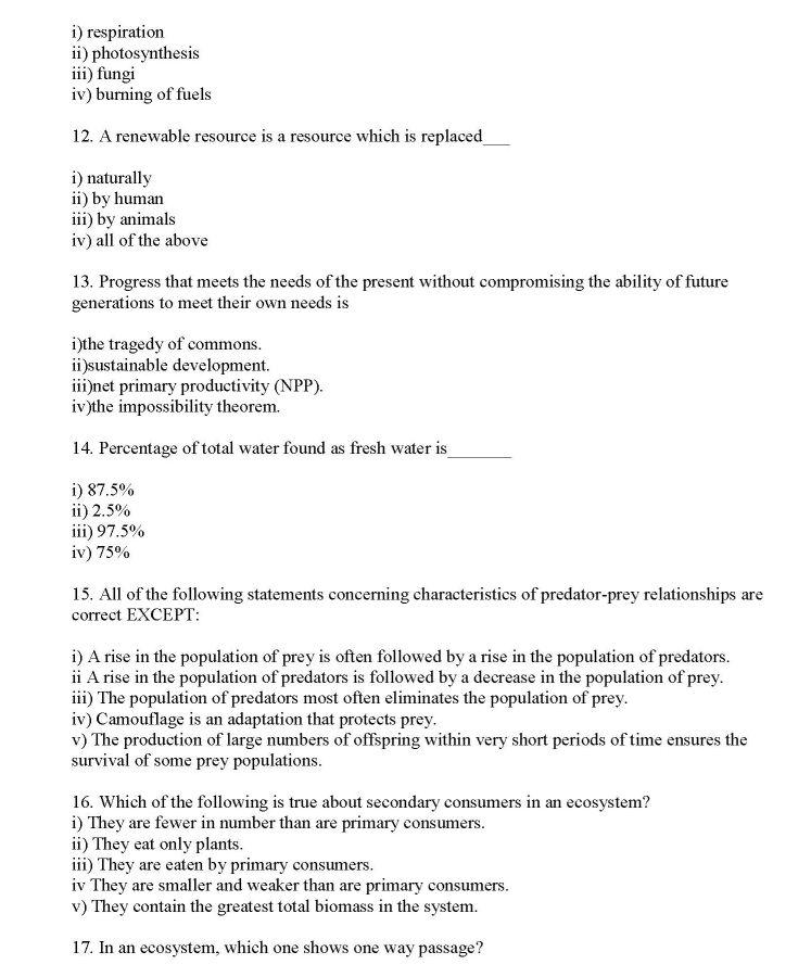 Calcutta University EVS Question Papers - 2018 2019 EduVark