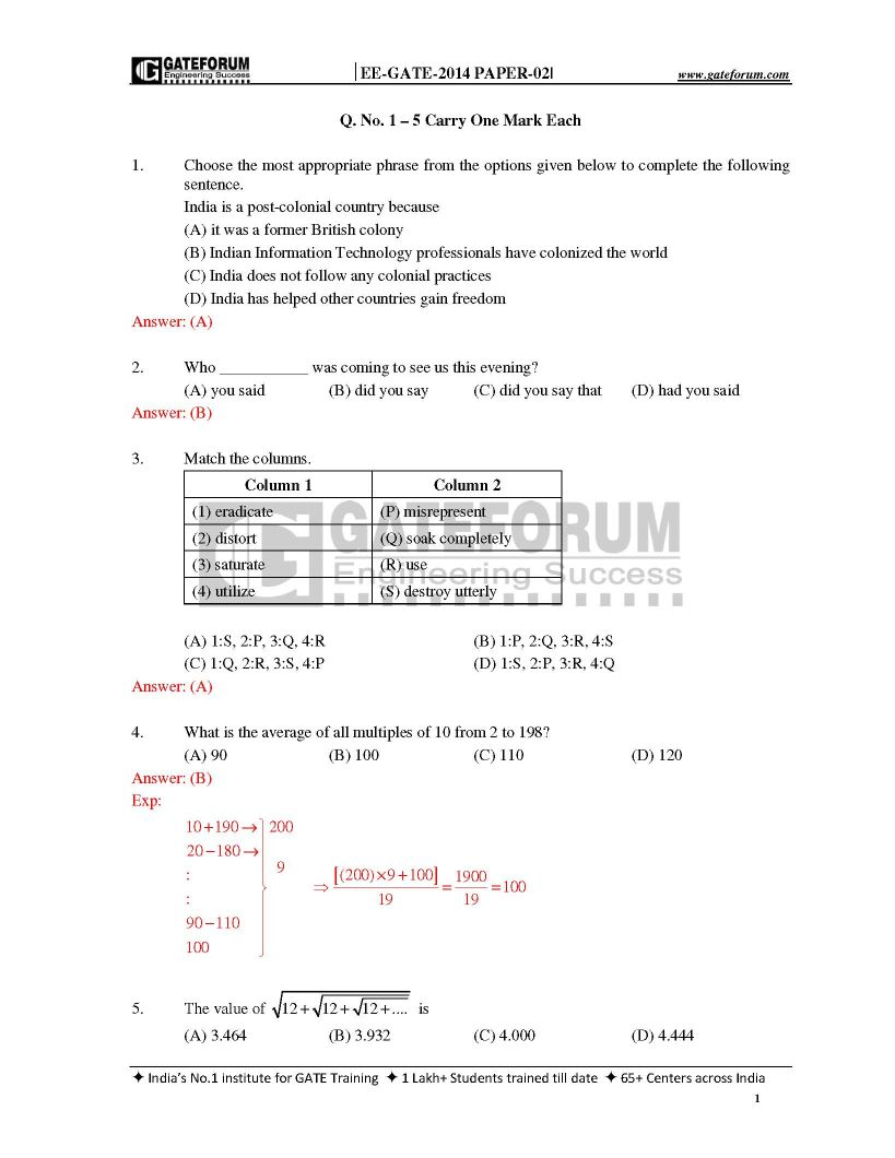 Previous year question papers of GATE in Electrical and