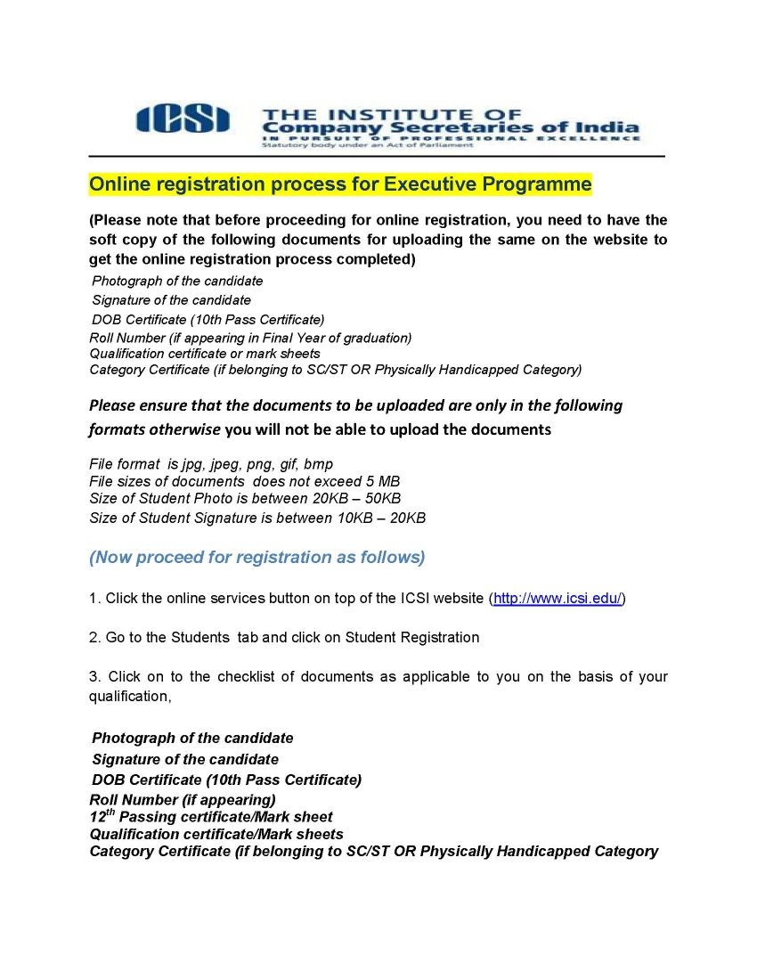 procedure to apply for company secretary course after passing th fees structure for cs course