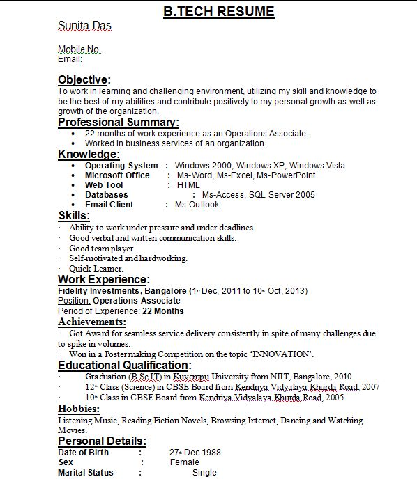 Resume Samples For Btech Student Resume Ixiplay Free Resume Samples