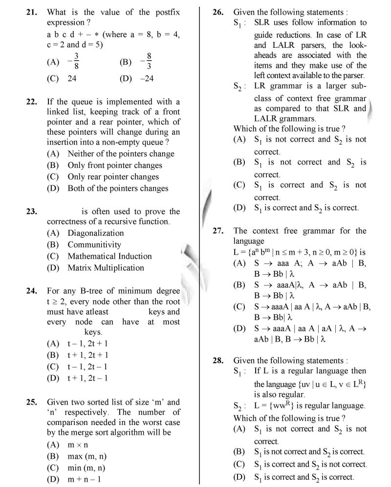 UGC NET JRF Computer Science Paper II Solved Paper - 2018