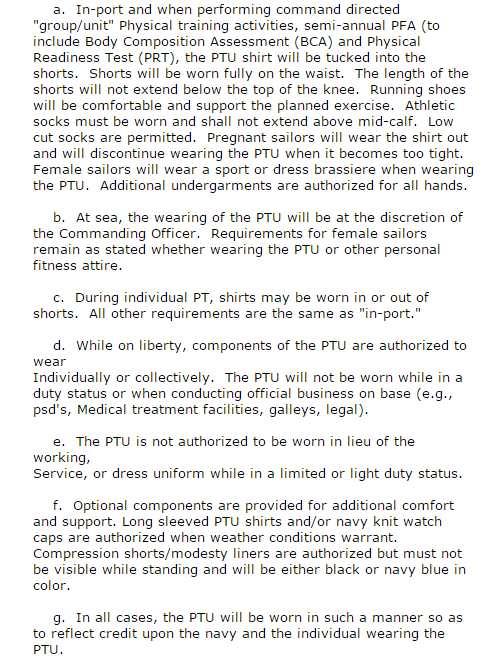 US Navy PTU - 2018 2019 EduVark