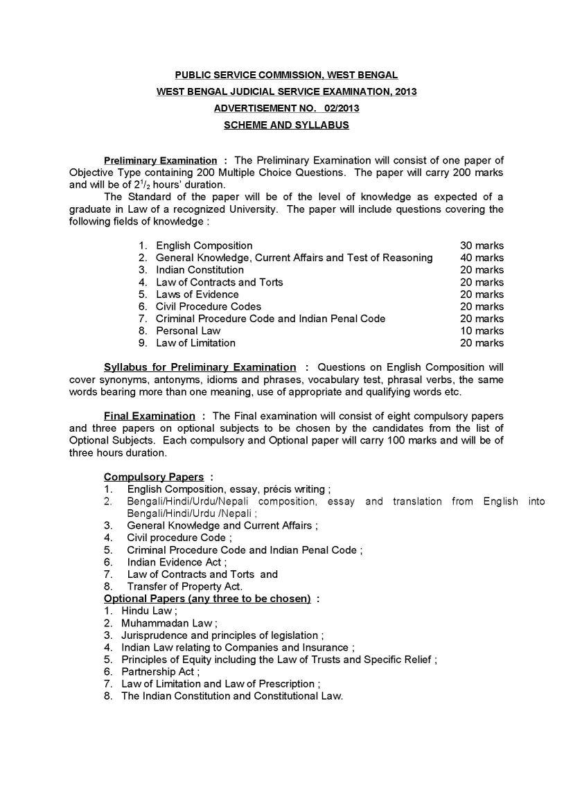 WBCS Judicial exam Sample question papers - 2018 2019 EduVark