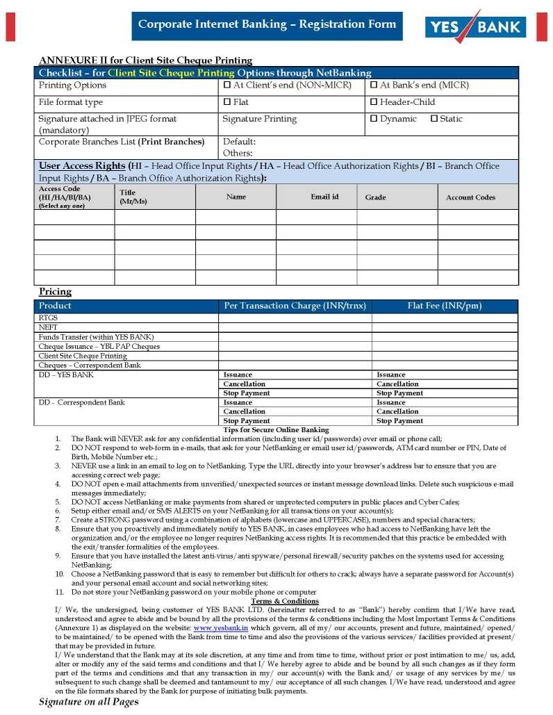 yes bank dd making form