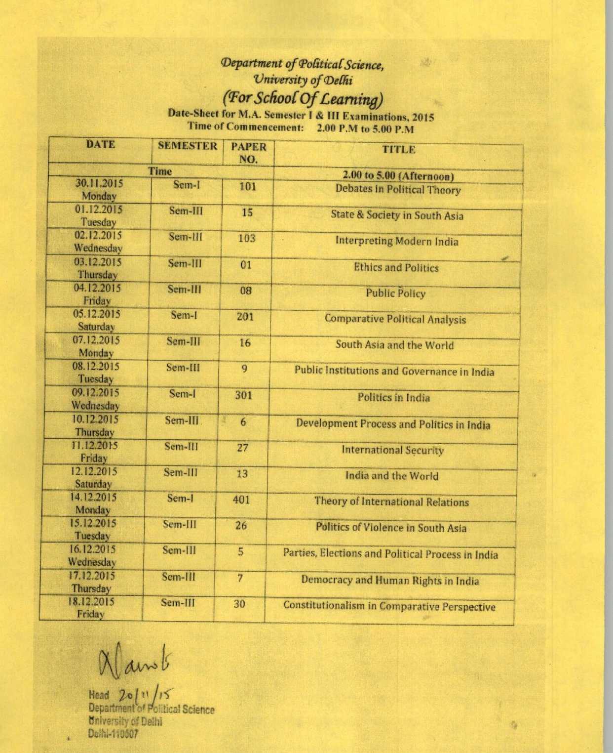 sol date sheet
