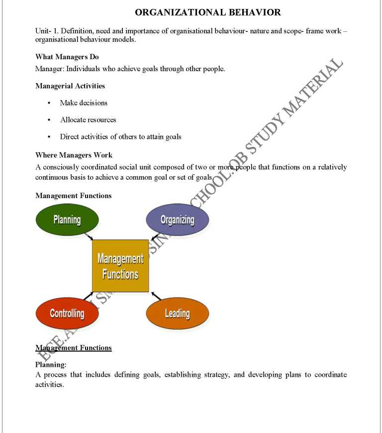 Organisational Behaviour Notes For Mba Pdf