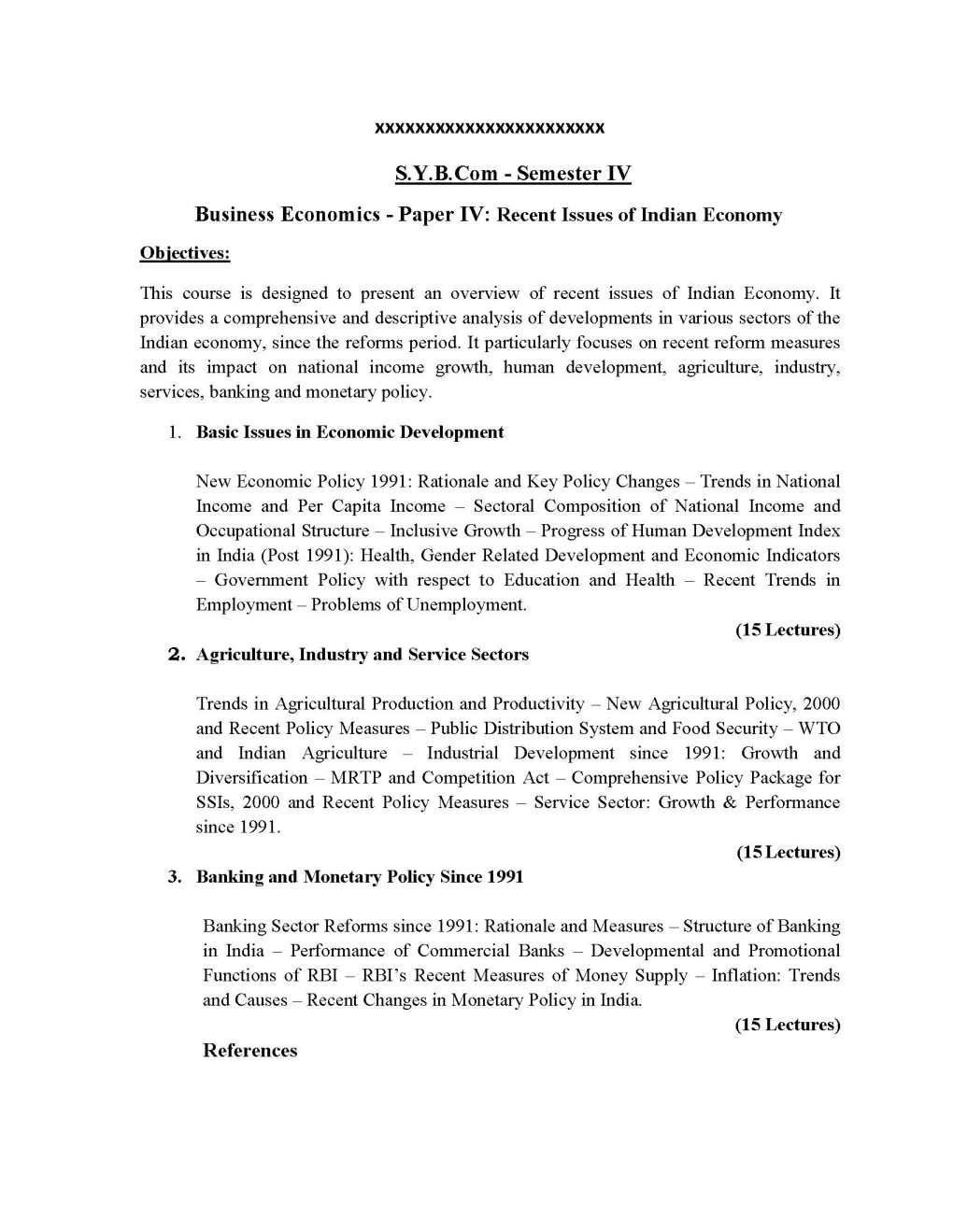 Mumbai university T Y B Com economics objectives - 2018 2019