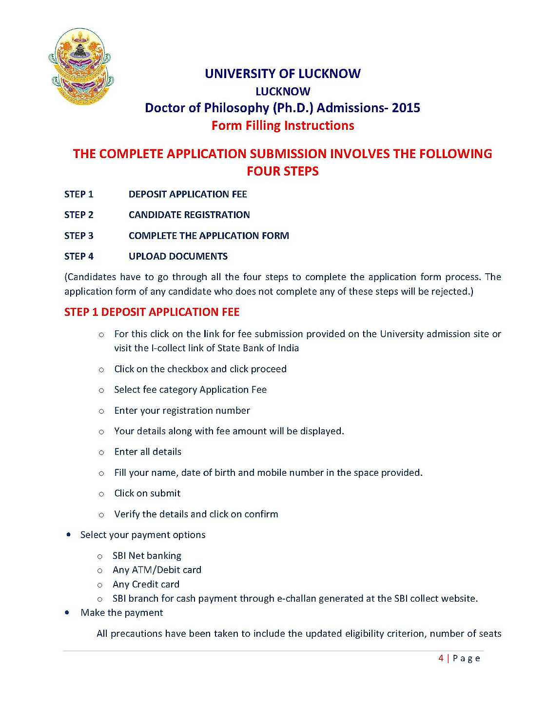 lucknow university application form