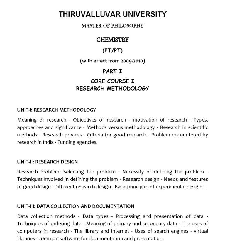 Thiruvalluvar University M Phil Chemistry Syllabus - 2018