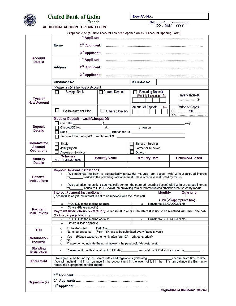 union bank of india kyc form in hindi