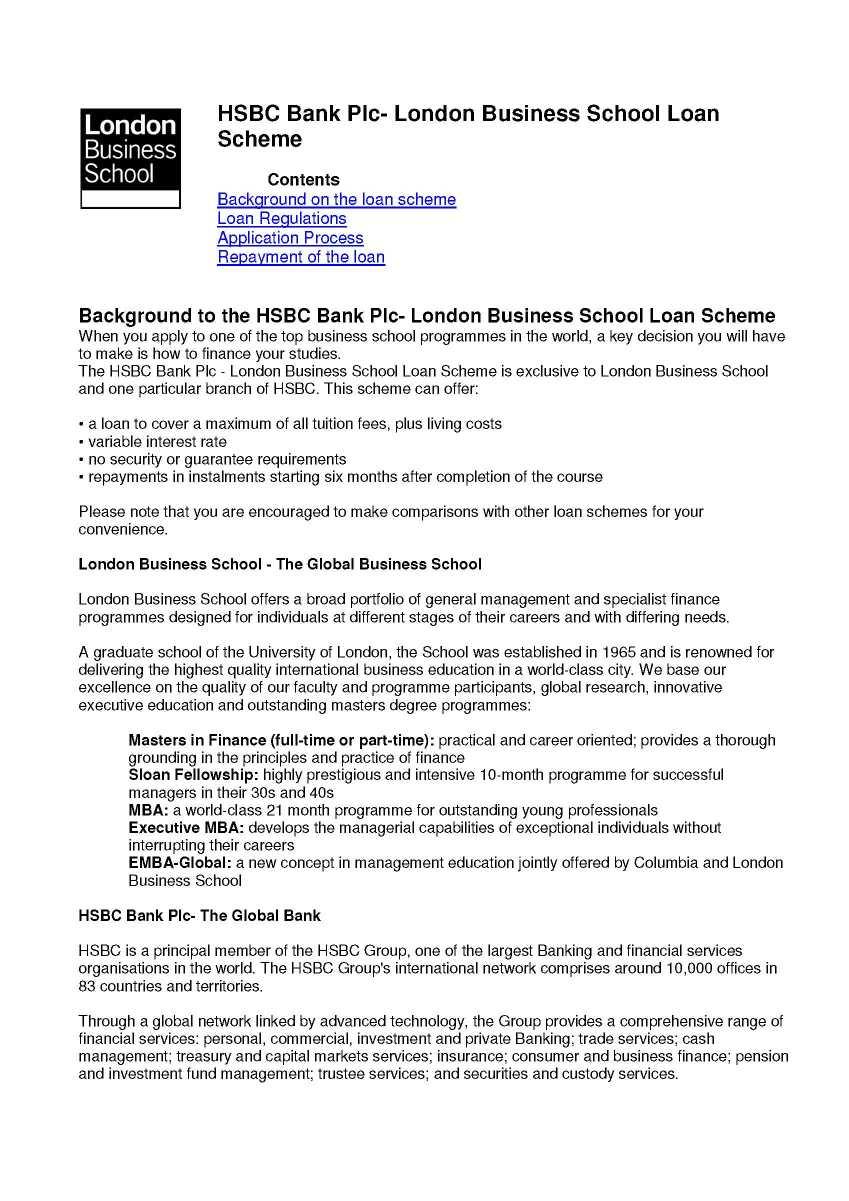 HSBC LBS MBA Loan - 2018 2019 EduVark