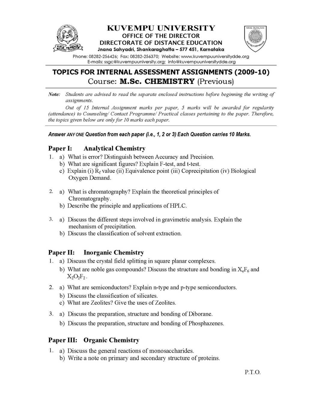 kuvempu university msc chemistry assignments eduvark assignment question paper for msc chemistry program kuvempu university