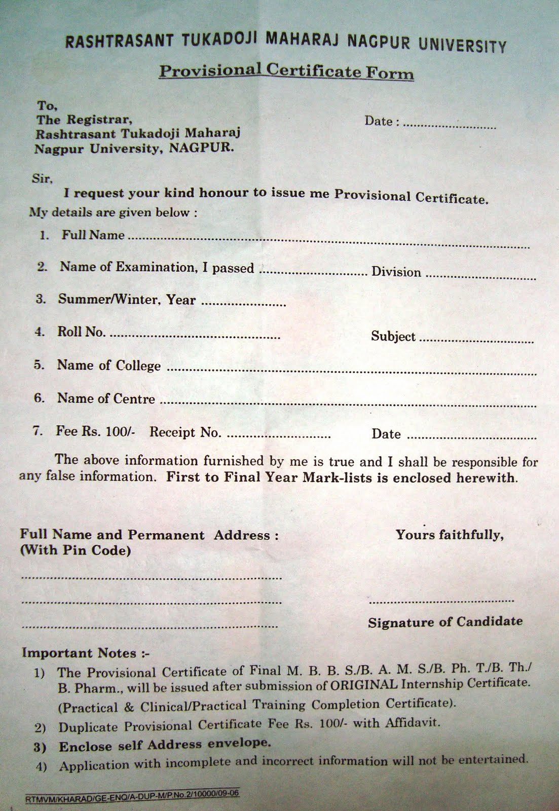 Nagpur university provisional certificate 2018 2019 eduvark first to final year mark sheet attach with the application form yadclub Choice Image