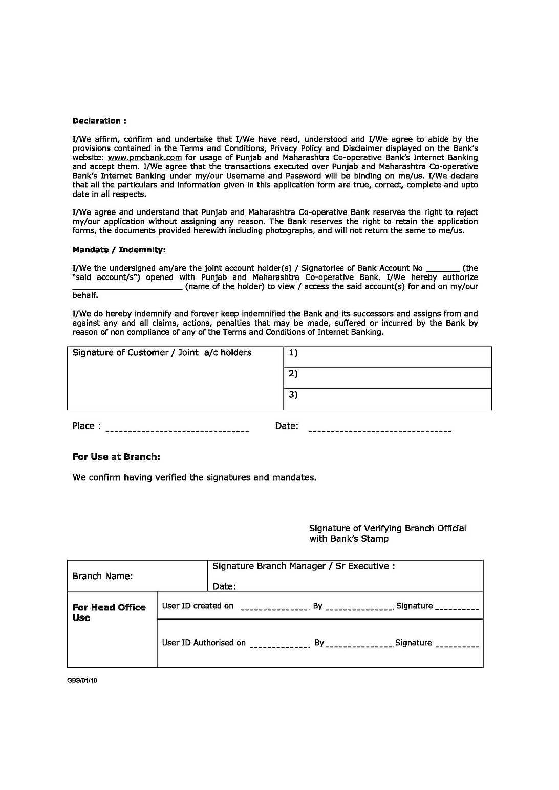 how to fill corporation bank internet banking form