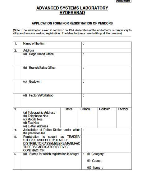 Vendor Registration Form Of Drdo - 2017 2018 Eduvark
