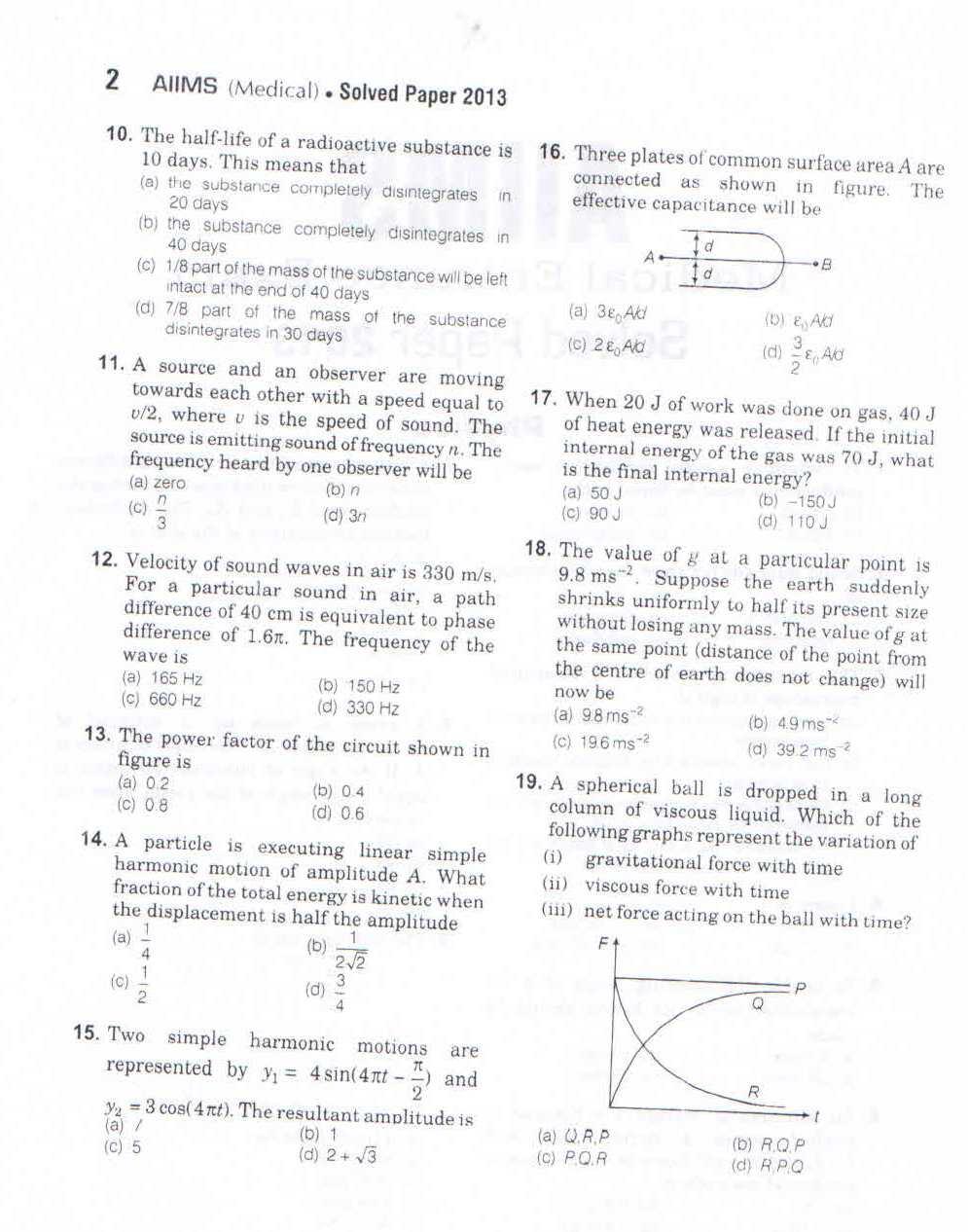 AIIMS Exam Question Paper - 2018 2019 EduVark