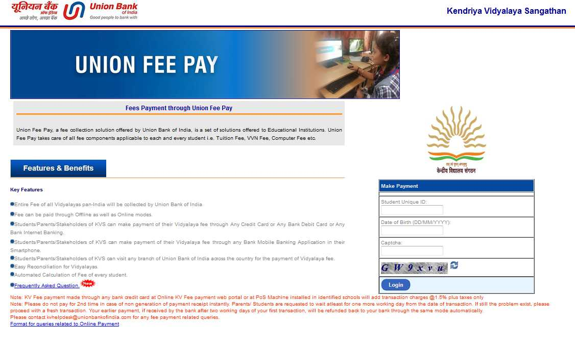 Beaches] Epay union bank of india kv school fees online payment