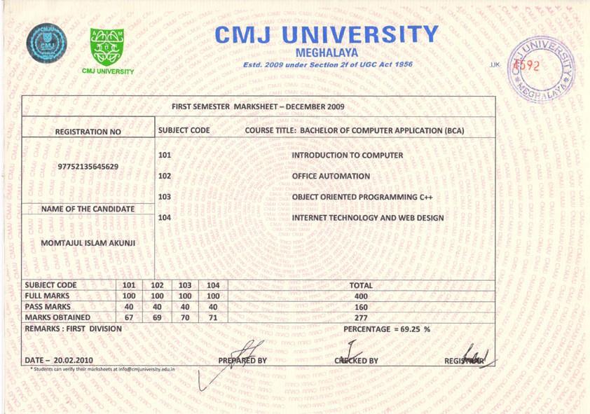 Cmj university degree certificate sample choice image sample degree certificate of shobhit university gallery sample degree certificate of cmj university images certificate sample yelopaper Choice Image