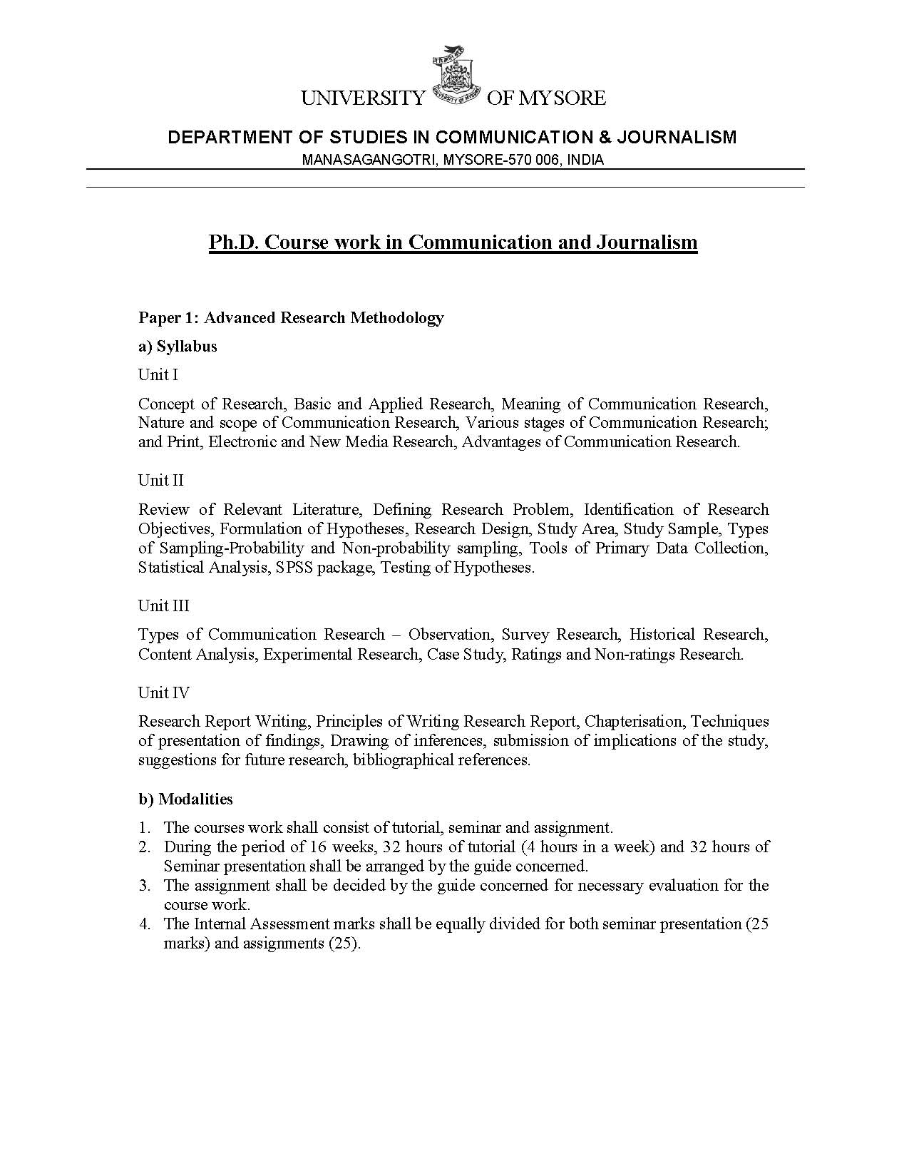 mysore university phd coursework syllabus
