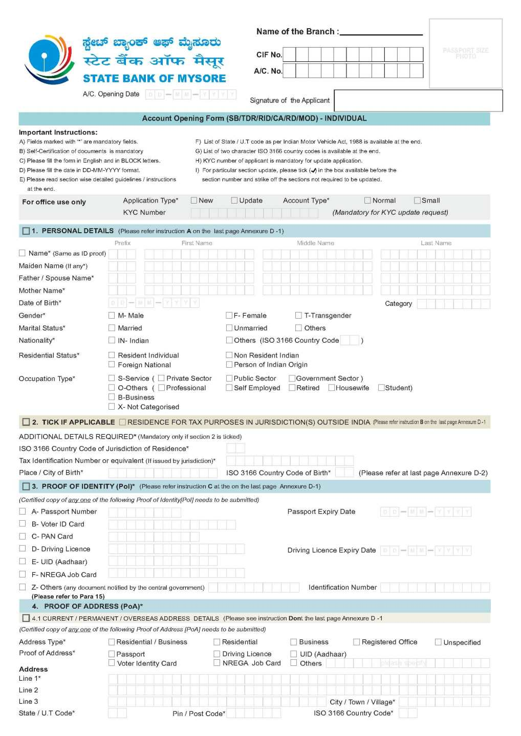 syndicate bank new account application form