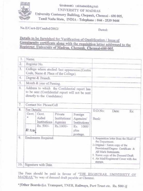 University of madras genuineness certificate fees 2018 2019 eduvark application form for genuineness certificate yadclub Gallery