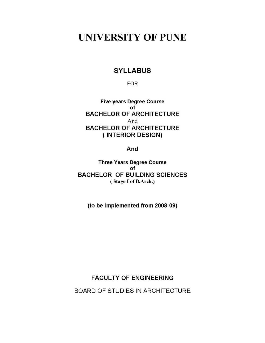 Pune University Bachelor Of Architecture Syllabus