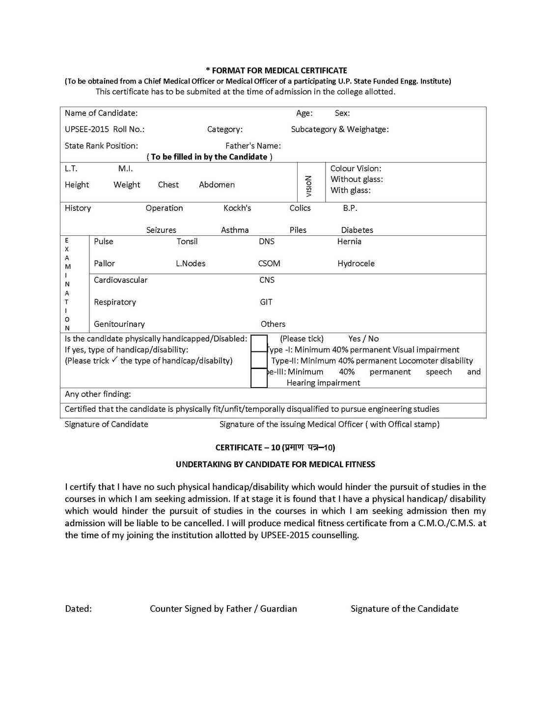 Performa Of Medical Certificate