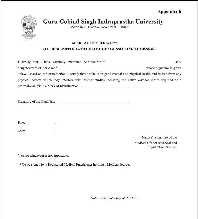 Guru Gobind Singh Indraprastha University Medical Certificate