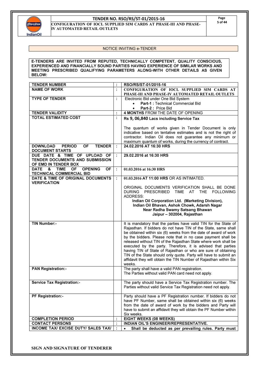 Iocl india tenders