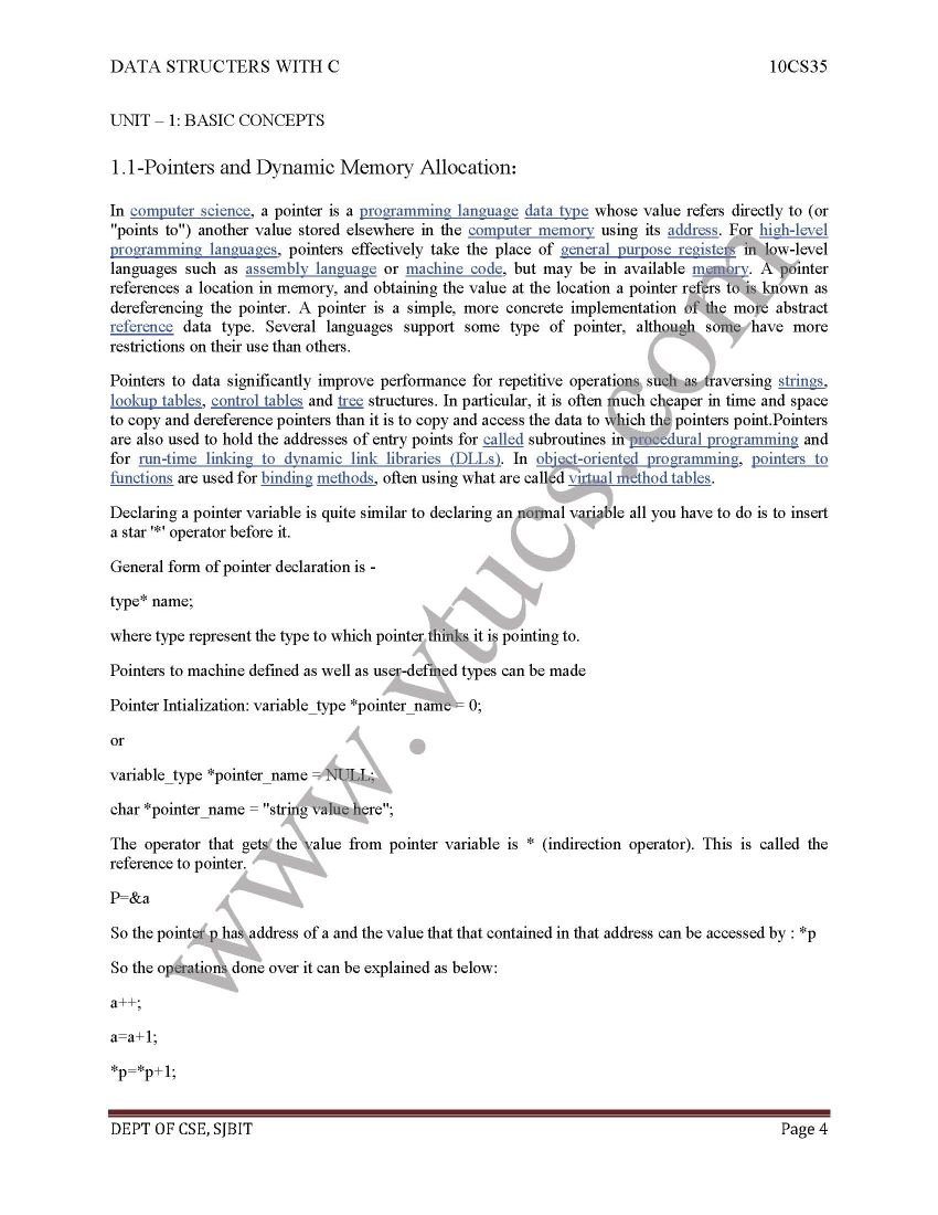 VTU Data Structures Notes - 2018 2019 EduVark