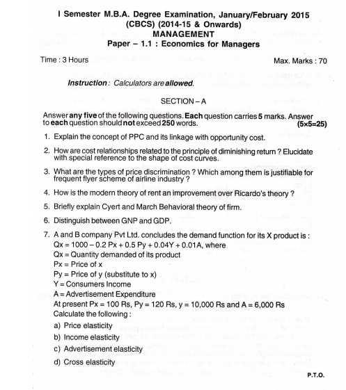 Bangalore University Question Papers MBA - 2019 2020 EduVark